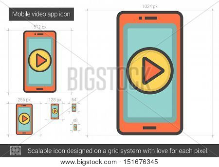 Mobile video app vector line icon isolated on white background. Mobile video app line icon for infographic, website or app. Scalable icon designed on a grid system.