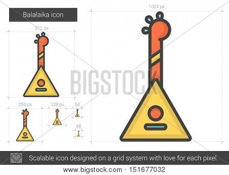 Balalaika vector line icon isolated on white background. Balalaika line icon for infographic, website or app. Scalable icon designed on a grid system.