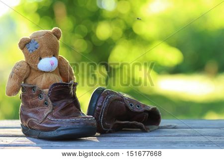 toy teddy bear on the table outdoor