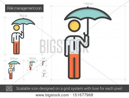 Risk managment vector line icon isolated on white background. Risk managment line icon for infographic, website or app. Scalable icon designed on a grid system.