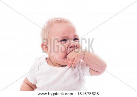 Crying baby face isolated on white background