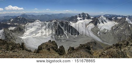 Glacier Kolesnik in the upper reaches of the Creek Shovoursoy. Central Asia, Western Tien Shan. Uzbekistan.
