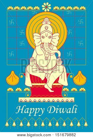 Vector design of Lord Ganesha for Happy Diwali prayer festival of India in Indian art style