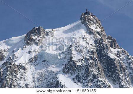 Aiguille de Midi in the Mont Blanc Massif. Chamonix. France