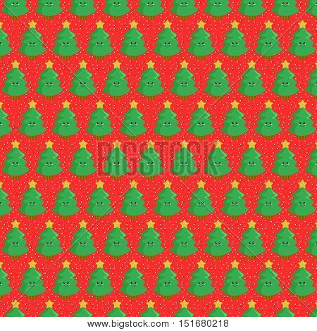 Christmas Tree Pattern Background. Simple and Flat