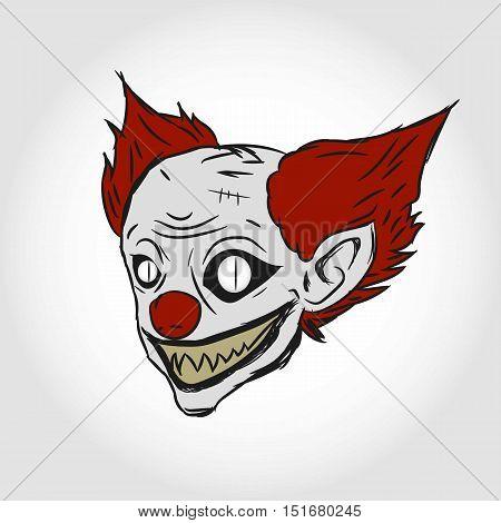 Evil Clown Face Illustration. Terror Clown. Isolated.