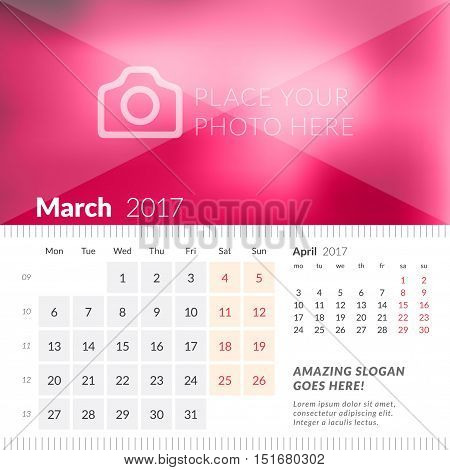 March 2017. Desk Calendar For 2017 Year. Week Starts Monday. 2 Months On Page. Vector Design Print T