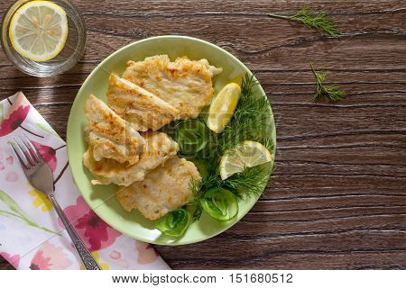 Fried Fish With Potato Batter - Healthy Eating, Diet, Top View. Copy Space.