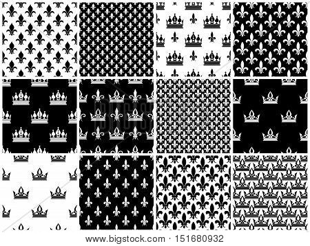 Vector crowns and fleur de lis seamless patterns set in black white. Wallpaper decoration with crown illustration