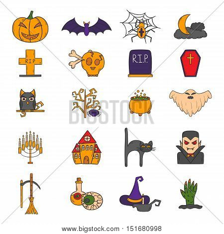 Vector Cartoon Hand Drawn Halloween Icons
