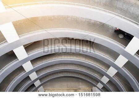 Multi storey auto mobile parking loop morning light