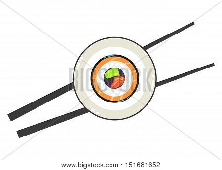 Sushi on a plate and a pair of chopsticks vector illustration. Chinese restaurant and asia eat