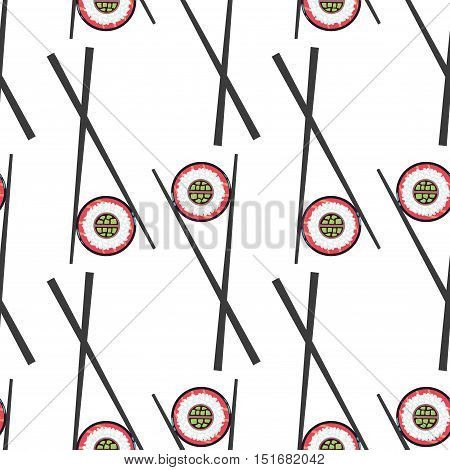 Sushi and chopsticks isolated in white background. Vector seamless pattern illustration