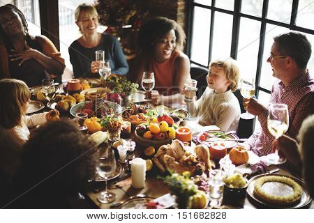 People Talking Celebrating Thanksgiving Holiday Concept