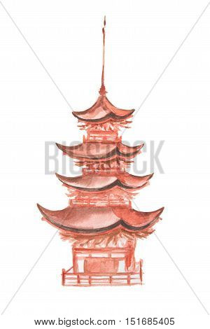 Isolated watercolor asian tower on white background. Chineese or japaneese style. Asian landmark.