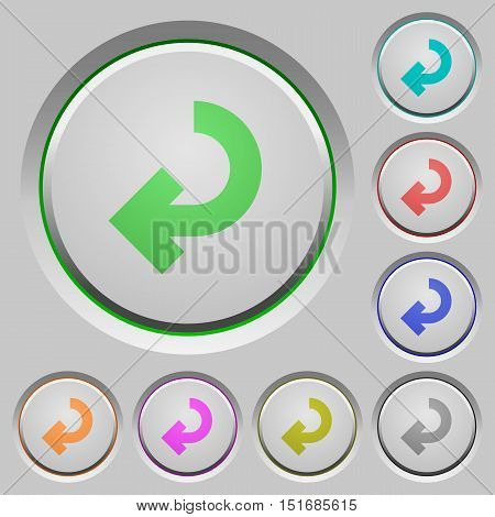 Set of color return arrow sunk push buttons.