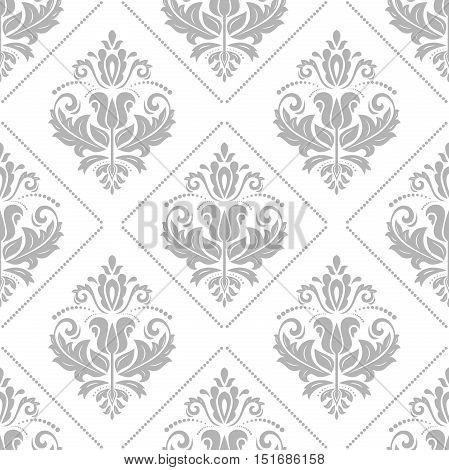 Seamless classic vector light silver pattern. Traditional orient ornament
