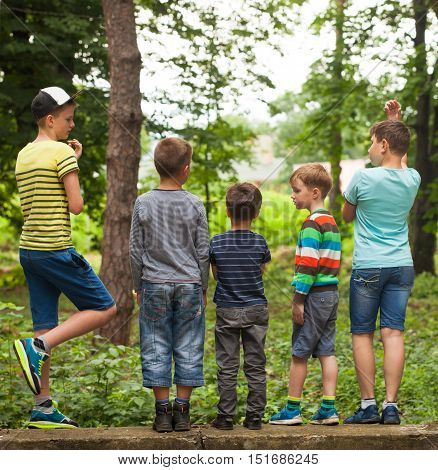 A group of boys  looking at a tree in the park back view