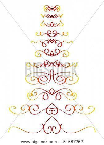 Ornamental calligraphic line page decoration Vector design element set