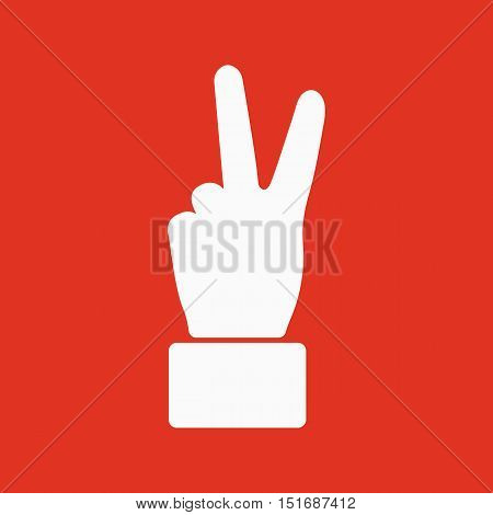 The Hand showing victory gesture icon. Victoty symbol. Flat Vector illustration
