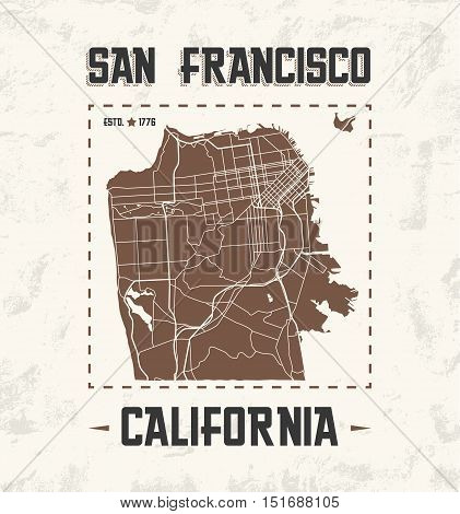 San Francisco Vintage T-shirt Graphic Design With City Map. Tee Shirt Print, Typography, Label, Badg