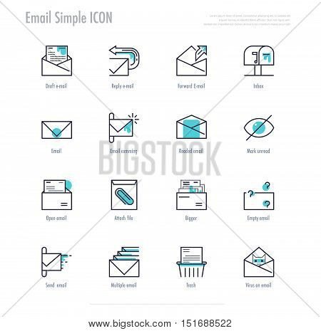 e-mail activities icon set. line icon design. vector illustration.