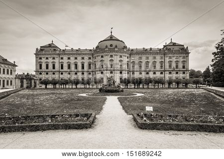 Wurzburg Germany - May 22 2016: The Wurzburg Residence in Wurzburg Germany. The Wurzburg Residence was inscribed in the UNESCO World Heritage List in 1981. Black and white photography sepia toned.