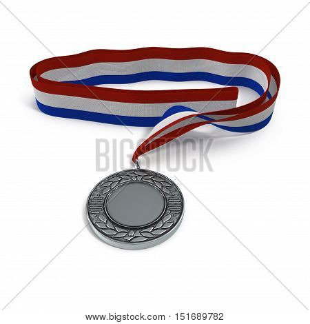 Metal medal with tricolor ribbon on white background. 3D illustration