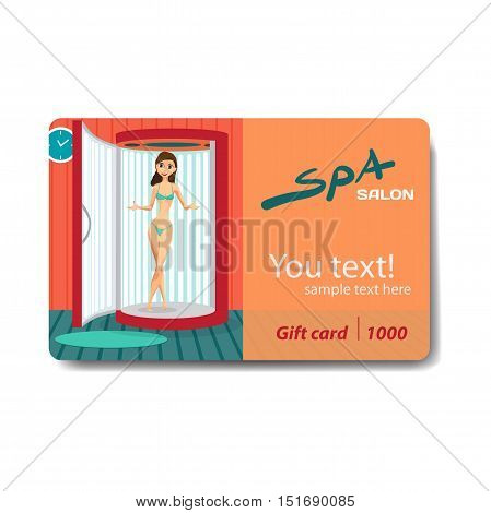 Young woman tanning in vertical solarium. Sale discount gift card. Branding design for spa salon or beauty parlor
