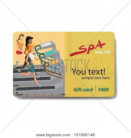 Young woman running on a treadmill. Sale discount gift card. Branding design to the gym and sports club