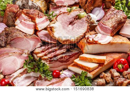 Smoked pork meat products composition, food background