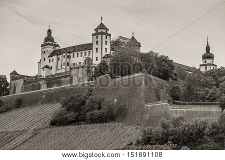 Marienberg Fortress in Wurzburg Lower Franconia Bavaria Germany. Black and white photography sepia toned.