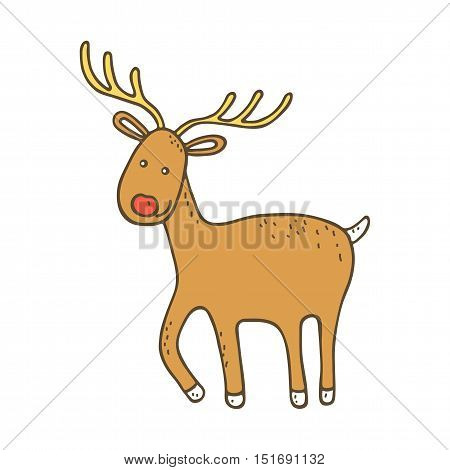 Cute christmas deer on white bacground. Veector illustration