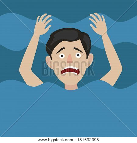 Man drowns in water. Color hand drawn cartoon vector illustration