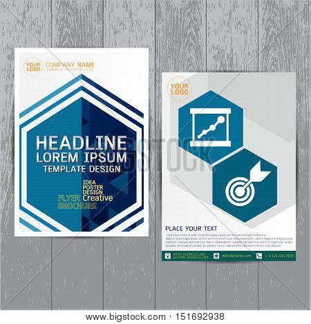 brochure flyer layout in A4 size Blue annual report design template vector Leaflet cover presentation abstract flat background modern Colorful Leaflet cover presentation