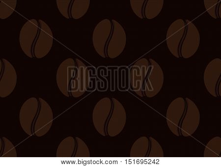 Isolated abstract coffee beans seamless texture. Morning drink background. Cafe wallpaper interior design. Vector coffee illustration. Energetic beverage backdrop. Latte, espresso, americano sign