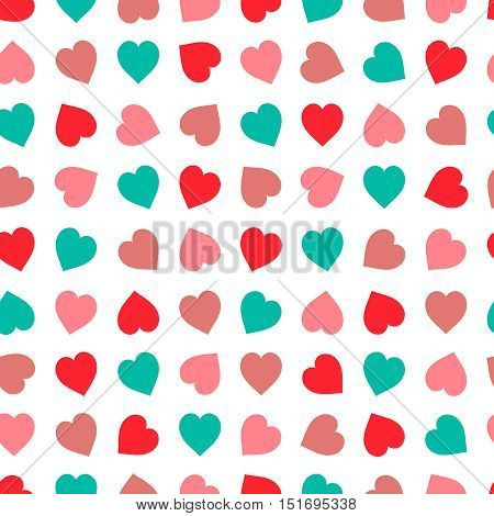 Hearts seamless pattern in pastel colors. Hand drawn heart set, good for textile and paper print, card, poster, another design. Cute Saint Valentine Day vector illustration, easy to recolor