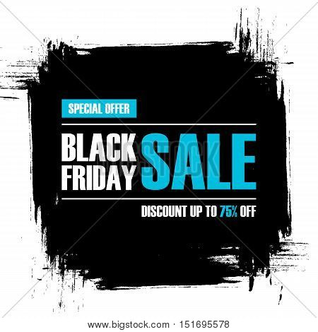 Black Friday Sale. Special offer banner with black brush stroke background. Discount up to 75% off. Banner for business, promotion and advertising. Vector illustration.