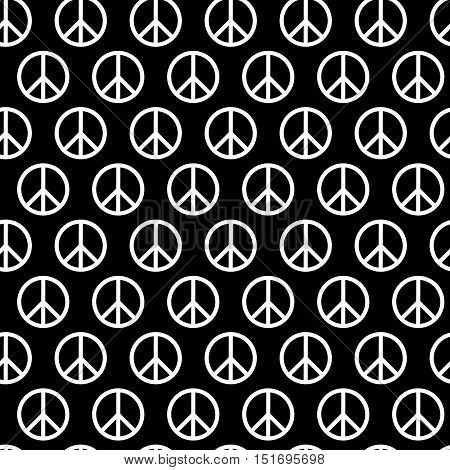 Seamless pattern with peace signs. Background for kid and adult textile, pajama, paper print, card and other design. Hippie symbol monochrom vector illustration. Sixties.