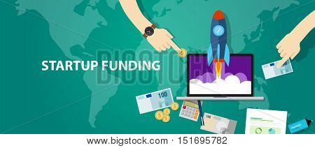 start-up funding company launch rocket business investment money cash vector