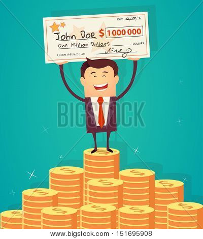Man holding winning check for one million dollars and standing on the huge money staircase. Lottery and rich, lucky smile, cheque and money. Vector illustration