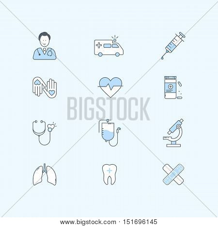Flat line icons set of healthcare, medicine and medical equipment. Vector illustration.