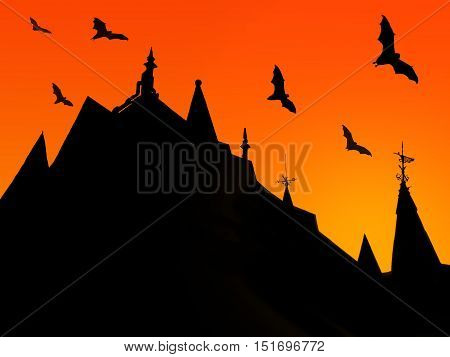 halloween background with silhouettes of castle roofs with weathervanes and flying bats on sunset background