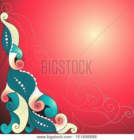 Abstract background in bright colors with a gradient. Wavy lines swirls scales and tentacles.
