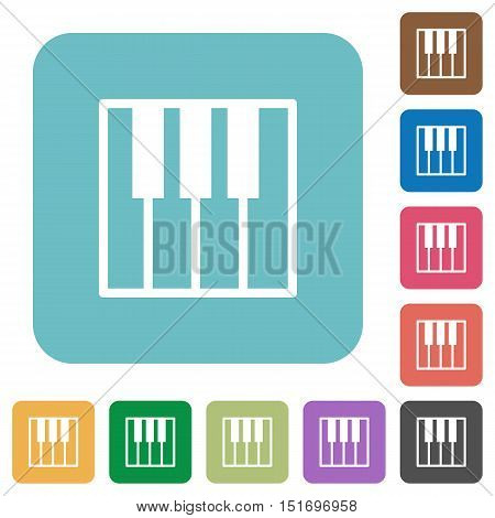 Flat piano keyboard icons on rounded square color backgrounds.