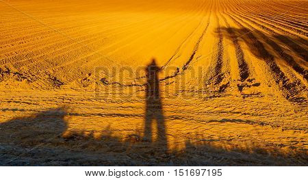 Shadow of a man on a brown plowed field at sunset