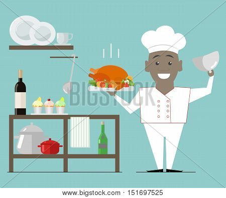 Chef African American holding a hot dish. Turkey roast. Vector flat