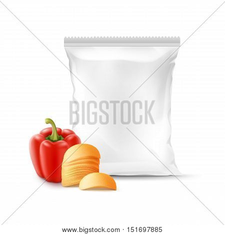Vector Stack of Potato Crispy Chips with Paprika and Vertical Sealed Empty Plastic Foil Bag for Package Design Close up Isolated on White Background
