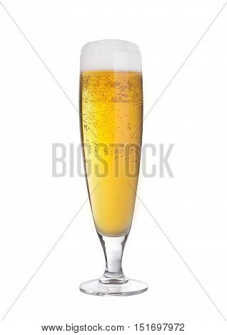 Glass of beer cider elegant with foam isolated on white background