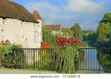 famous Wine Village of Chablis in Burgundy at River Serein,France